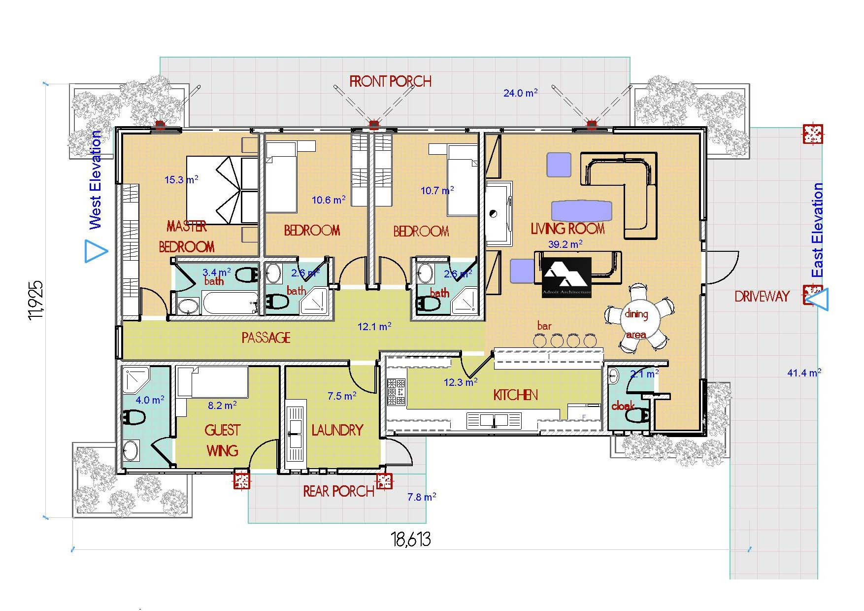 Four bedroom house plans in kenya for Four bedroom maisonette plans