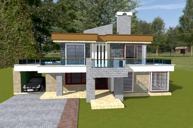 Contemporary house plan 1 adroit architecture for Front view house plans